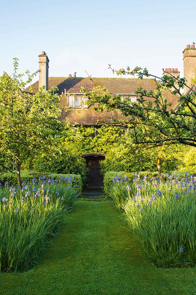 The approach to the house at Bryan's Ground in the UK's Herefordshire is a sea of pale blue flowers, Iris sibirica 'Papillon', in late May. Heritage apple trees also frame the view to the elegant property, which was built during the Arts and Crafts period.