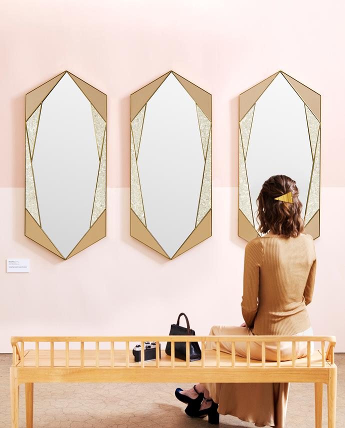 "Tinted Hex wall mirrors, $669 each, [West Elm](http://www.westelm.com.au/tinted-hex-wall-mirror-h3766|target=""_blank""