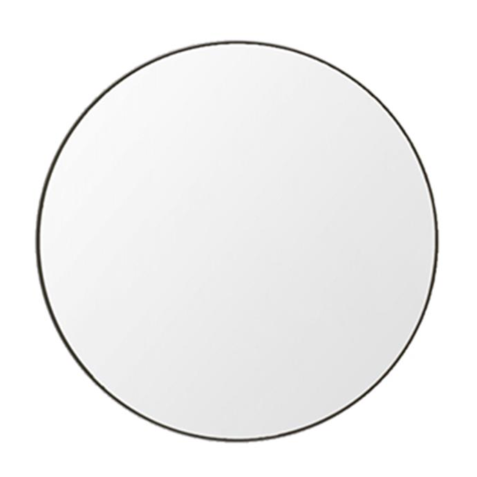 "Flynn Large Round Mirror in Black, $499, [Oz Design Furniture](https://ozdesignfurniture.com.au/homewares/mirrors/flynn-large-round-mirror-black|target=""_blank""