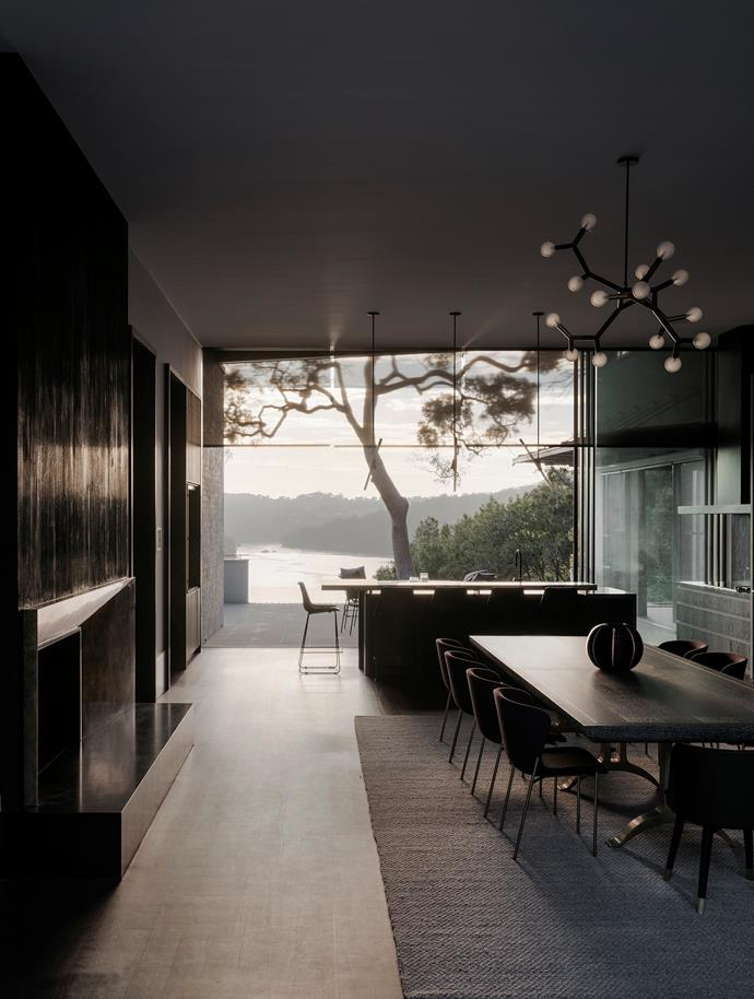 Embracing its position amid bushland this expansive habourside home references the landscape in the tones and textures of its materials palette. From *Belle* June/July 2019.