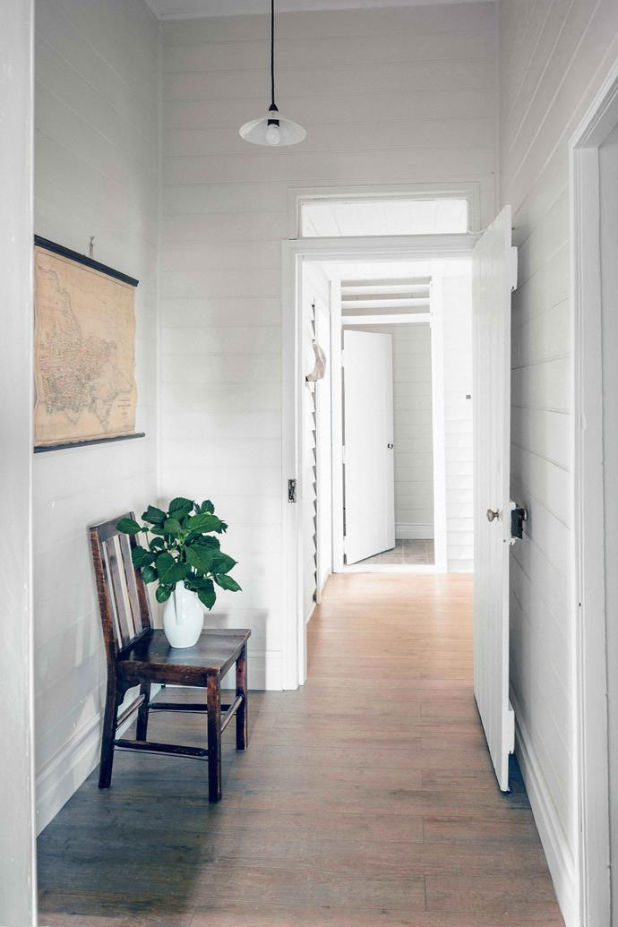 """The entrance hallway of the cottage. """"[We] are forever learning more and more about the farm and region as we get to know more people in the district,"""" says Bec."""
