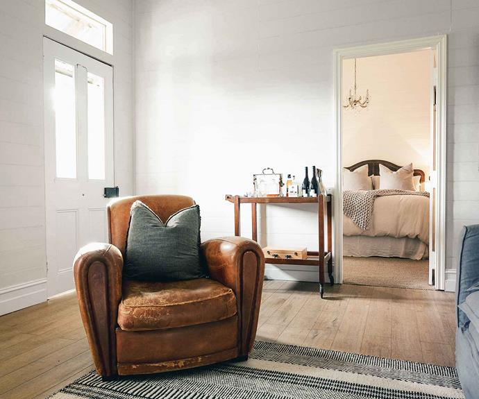 """Preserving the home's old-world charm was a top priority for Bec and Angus. """"We have blended old with new, sourced pieces from the farm's shearing shed and from as far as France."""""""