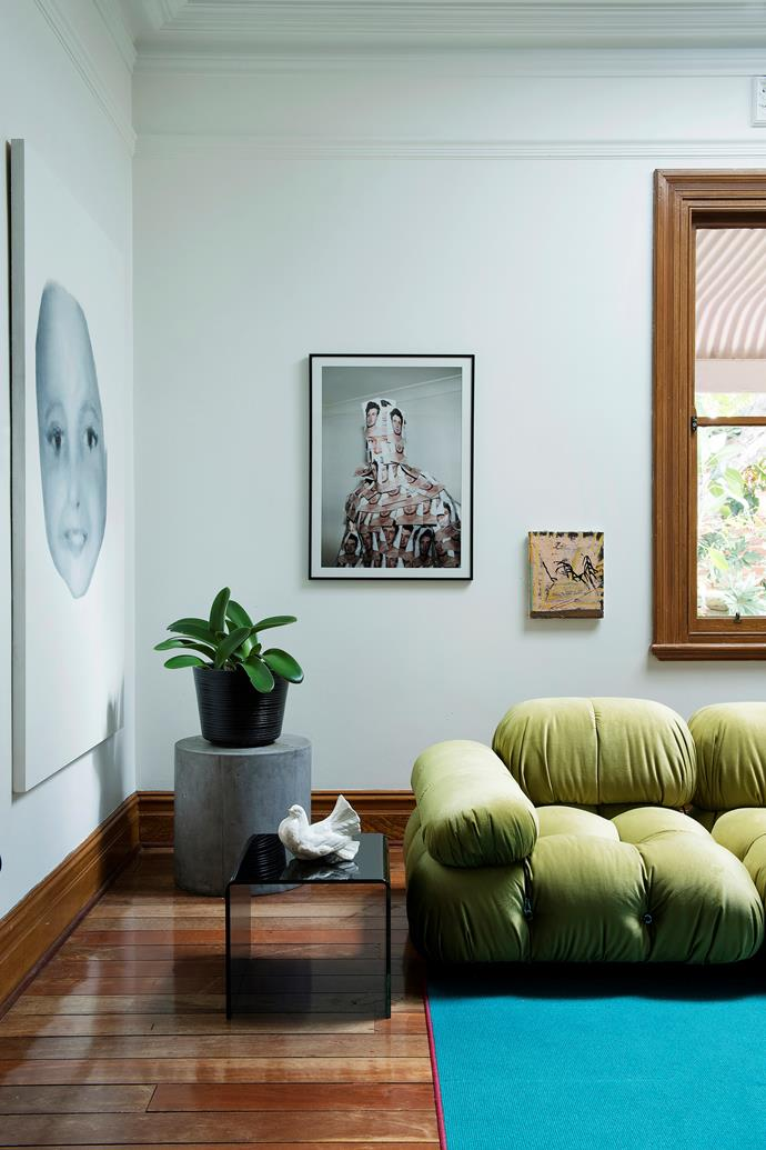 While art, colour and texture are the stars of this room, the rest of the decor has been kept relatively simple to create a usable and comfortable space. **Artworks:** (left to right) by Josh Fitzpatrick, Emmaline Zanelli and Teelah George.