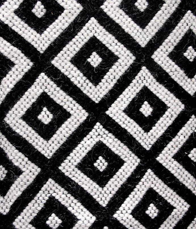 "'Kharad' Black and white diamond **rug**, $2500, from [Bhuj Bazaar](https://www.bhujbazaar.com/new-products/black-white-diamond-kharad-rug|target=""_blank""
