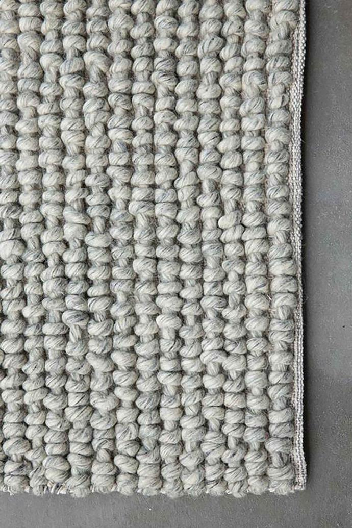 "NODI 'Noughts' weave **rug** in marle grey, starting from $1900, available at [Dunlin](https://dunlin.com.au/collections/nodi-rugs/products/nodi-noughts-weave|target=""_blank""