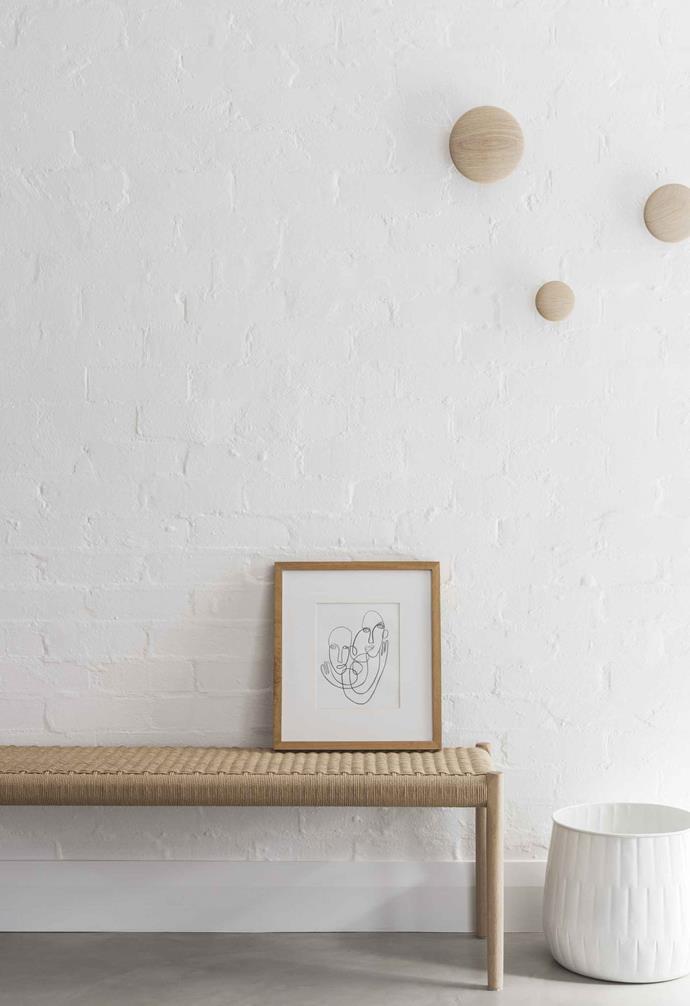"**Hall** All the brick walls have been painted over with Bauwerk Chalk. [Zakkia](https://www.zakkia.com.au/|target=""_blank""|rel=""nofollow"") planter. Moller bench, [Great Dane](https://greatdanefurniture.com/|target=""_blank""|rel=""nofollow"")."