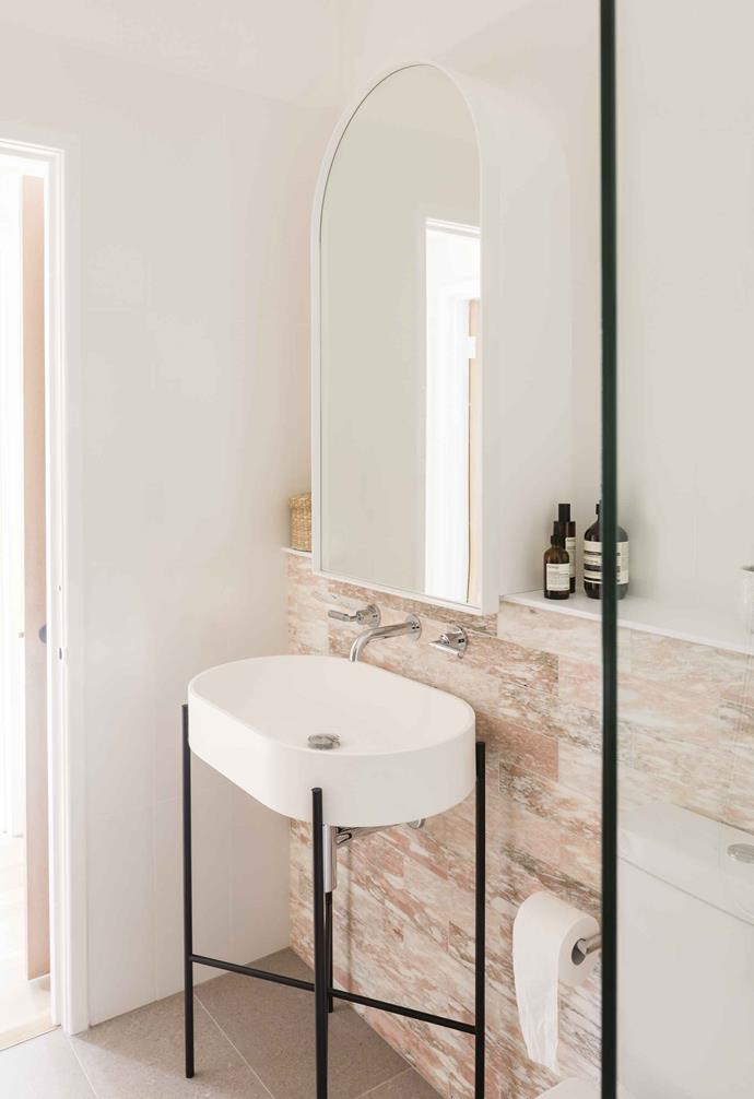 "**Bathroom** Georgia found inspiration for her pink tiles on Instagram. Vulcano 'Fiori Rosa' honed tiles, [Myaree Ceramics](https://myareeceramics.com.au/|target=""_blank""