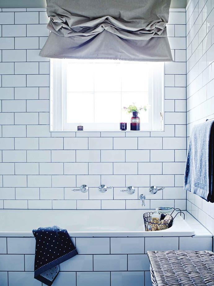 "The bathroom features tiles from Beaumont Tiles, tapware from Recollections and 'Dorothy' towels from [Bed Bath 'n' Table](https://www.bedbathntable.com.au/|target=""_blank""