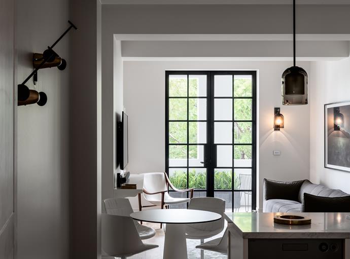 *The Harry apartment.* B&B Italia 'Labombole' sofa from Space Furniture. 'Lumi' wall light and pendant from Articolo Lighting.