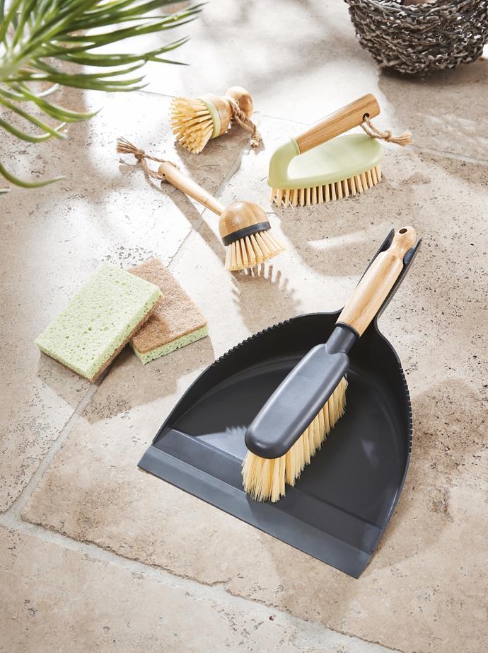 Bamboo Dustpan & Brush Set, $6.99. Bamboo Cleaning Brushes, $2.79