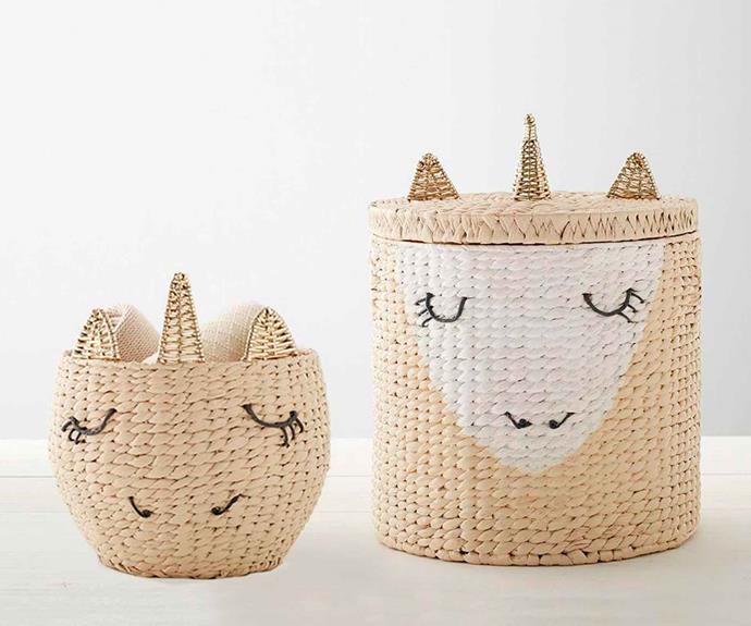 "Unicorn storage collection, $44, [Pottery Barn Kids](http://www.potterybarnkids.com.au/ target=""_blank"" rel=""nofollow"")."