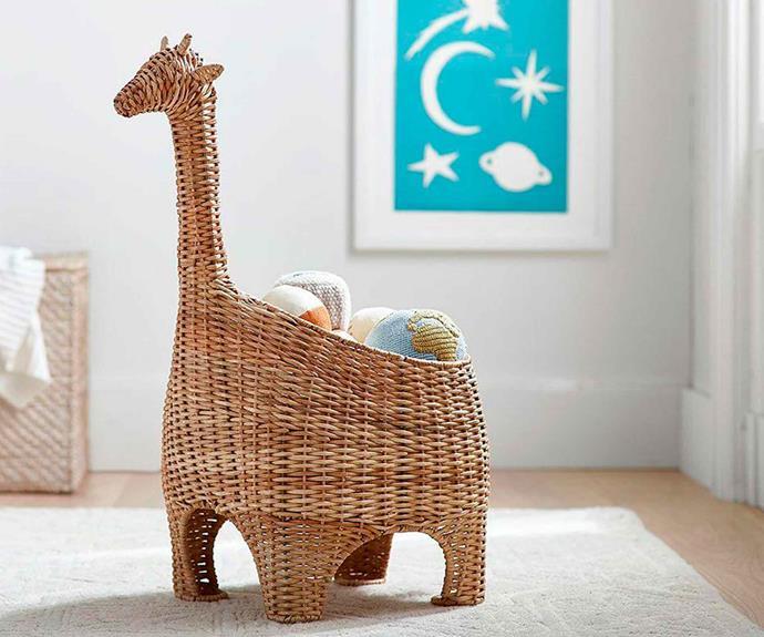 """Giraffe shaped wicker basket, $149, [Pottery Barn Kids](http://www.potterybarnkids.com.au/ target=""""_blank"""" rel=""""nofollow"""")."""