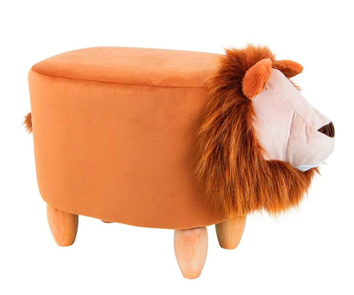 "Kodu upholstered Lion Ottoman, $49, [Big W](https://www.bigw.com.au/ target=""_blank"" rel=""nofollow"")."