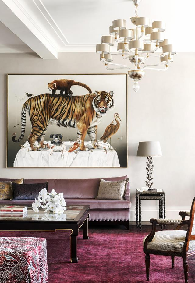 "A bold tiger artwork by Kate Bergin is just one of the stories in this [sophisticated home](https://www.homestolove.com.au/eclectic-melbourne-home-19866|target=""_blank"") that has many other tales to relate. Interior design by Thomas Hamel & Associates and Stuart Rattle. From *Belle* April 2019."