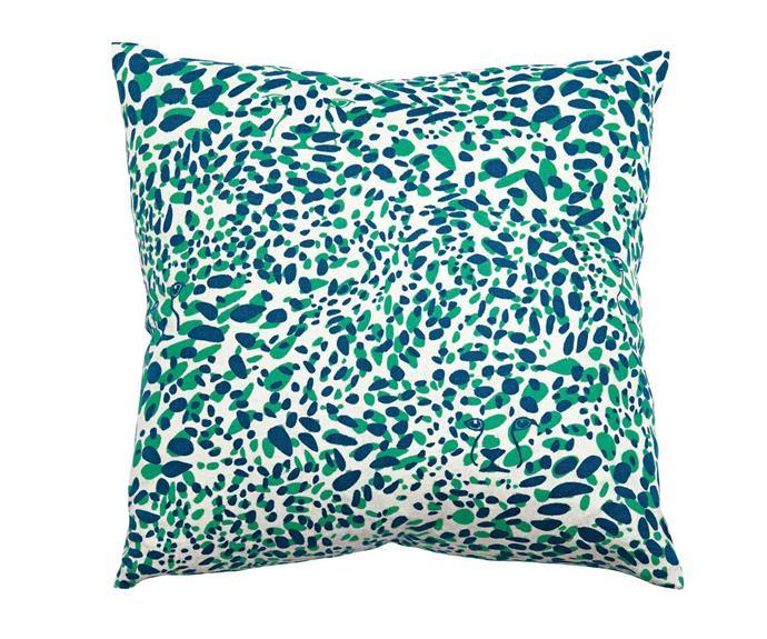 """'Cheetah Vision' pillow, from US$120, [Aimée Wilder Designs](https://aimeewilder.com/ target=""""_blank"""" rel=""""nofollow"""")"""