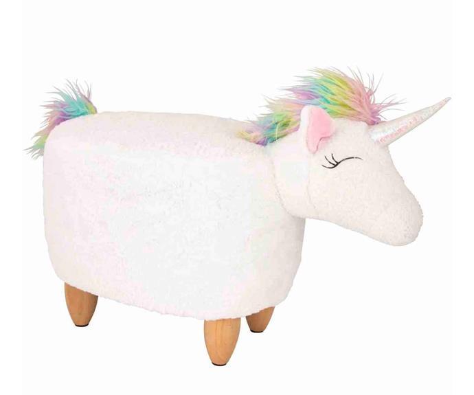 "Kodu Plush Unicorn Ottoman, $49, [Big W](https://www.bigw.com.au/ target=""_blank"" rel=""nofollow"")."