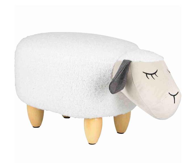 "Kodu Plush Sheep Ottoman, $49, [Big W](https://www.bigw.com.au/ target=""_blank"" rel=""nofollow"")."