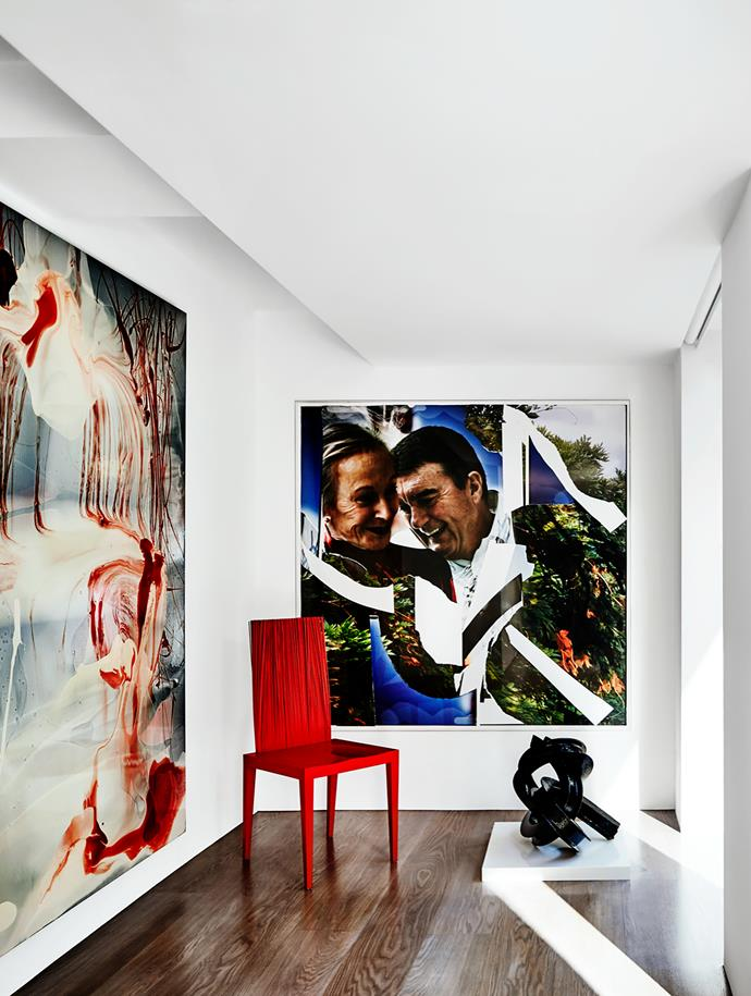 A pair of passionate art collectors called on Bochsler + Partners to update the former factory where they had resided for more than 30 years. The result is bespoke gallery space for their contemporary cache – including works by Dale Frank (left), Bill Henson (centre) and James Angus (right) – that still feels suitably homely. From *Belle* December/January 2015/16.