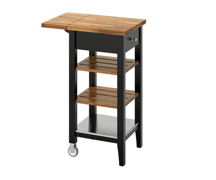 "[STENSTORP Kitchen trolley in Black-brown, oak, $199](https://www.ikea.com/au/en/catalog/products/00219838/|target=""_blank""