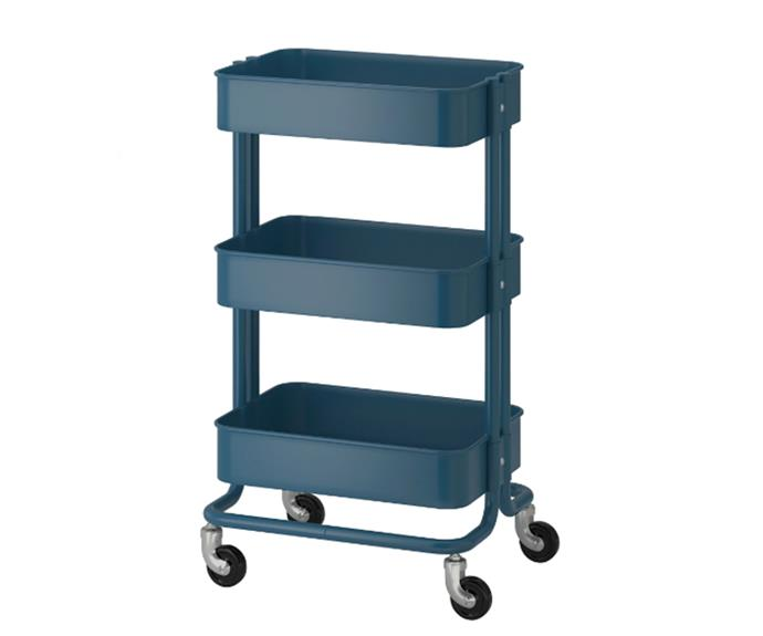 "[RÅSKOG Trolley in dark blue, $49](https://www.ikea.com/au/en/catalog/products/90401791/|target=""_blank""