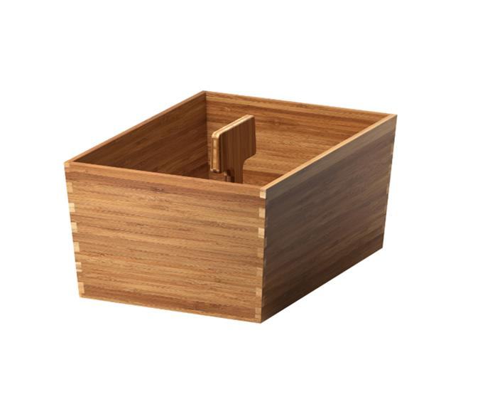 "[VARIERA bamboo Box with handle, $19.99](https://www.ikea.com/au/en/catalog/products/70271130/|target=""_blank""