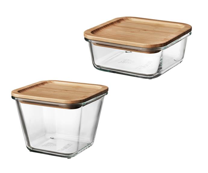 "[IKEA 365+ glass food container with bamboo lid, from $5.49](https://www.ikea.com/au/en/catalog/products/S69269114/|target=""_blank""