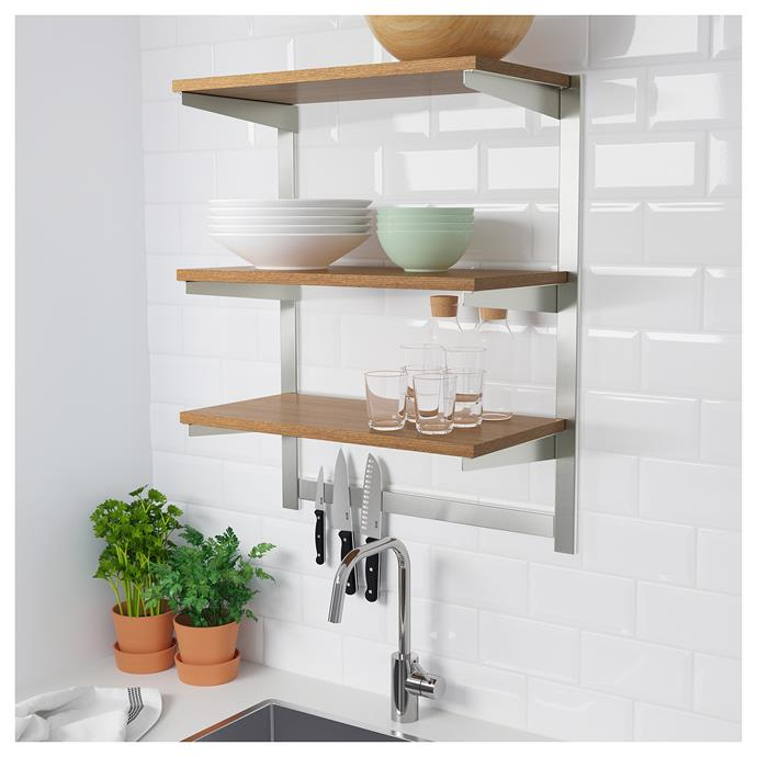 "[KUNGSFORS stainless steel shelf with magnetic knife rack, $105.94](https://www.ikea.com/au/en/catalog/products/S59254330/|target=""_blank""
