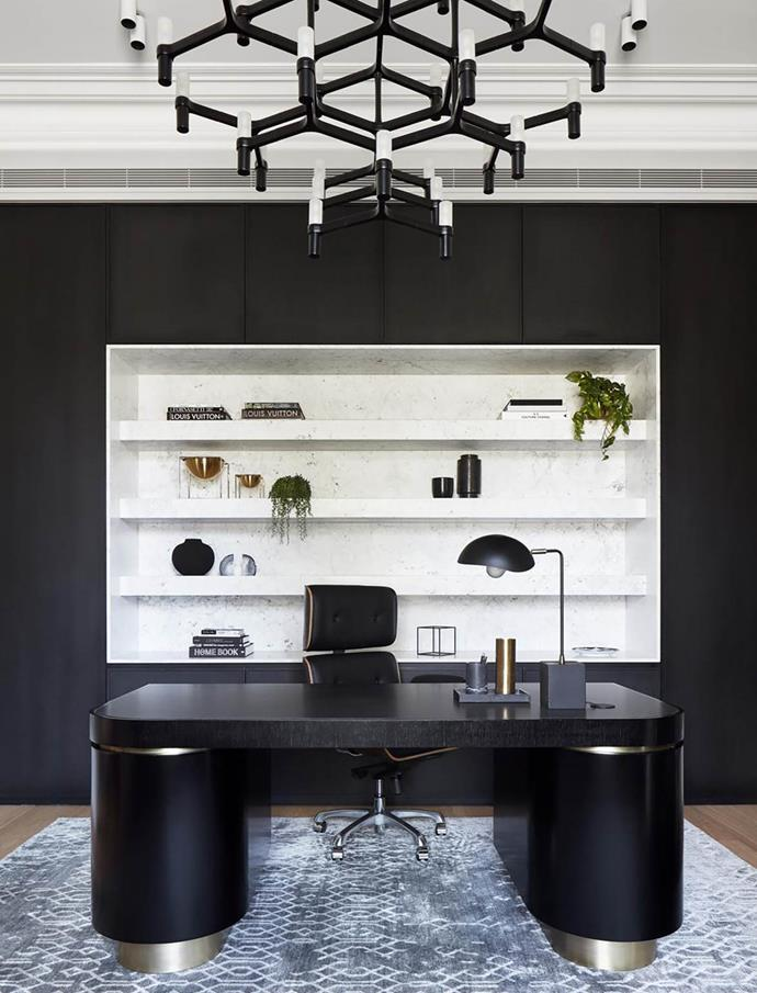 "A cool, contemporary aesthetic prevails in the office of this bold 19th century home revamped by [Christopher Elliott Design](https://www.homestolove.com.au/two-storey-victorian-home-with-edgy-interior-melbourne-19201|target=""_blank"")."