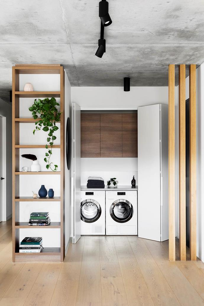 """The [laundry is super-functional](https://www.homestolove.com.au/house-and-garden-top-50-rooms-2018-bathrooms-and-laundries-19169