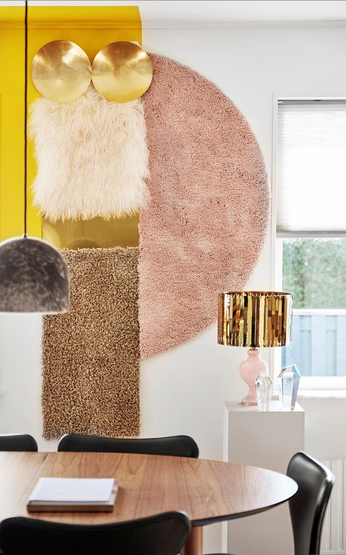 Mette created this textural wall hanging out of brass plates, a couple of Ikea rugs and a faux-fur pillow cover.