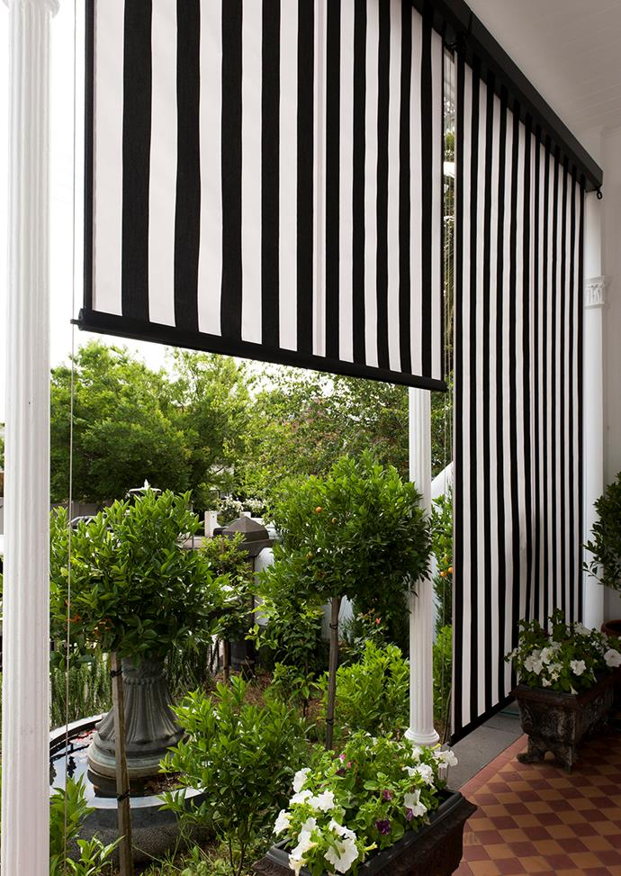 "These black and white striped Cassette Sunscreens are as functional as they are striking, instantly adding extra appeal to this balcony. *Image: supplied / [Victory Blinds](https://www.victoryblinds.com.au|target=""_blank"")*"