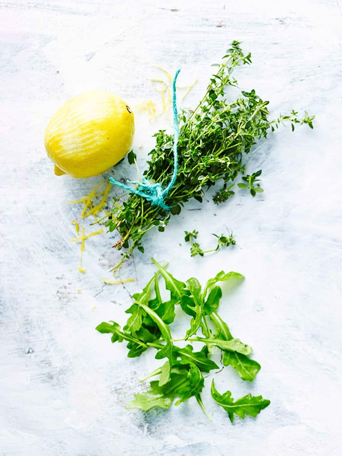 Lemon and thyme are popular herbs for adding flavour to roast chicken.
