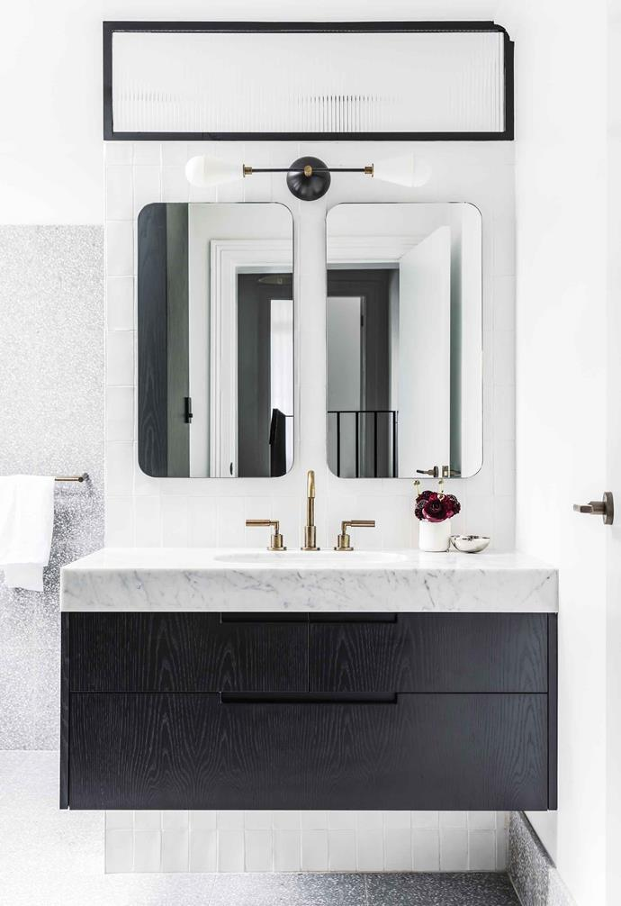 "**Bathroom** Astra Walker brass tapware works in beautifully with the Dyad wall sconce (above the vanity) from [Apparatus Studio](https://apparatusstudio.com/|target=""_blank""