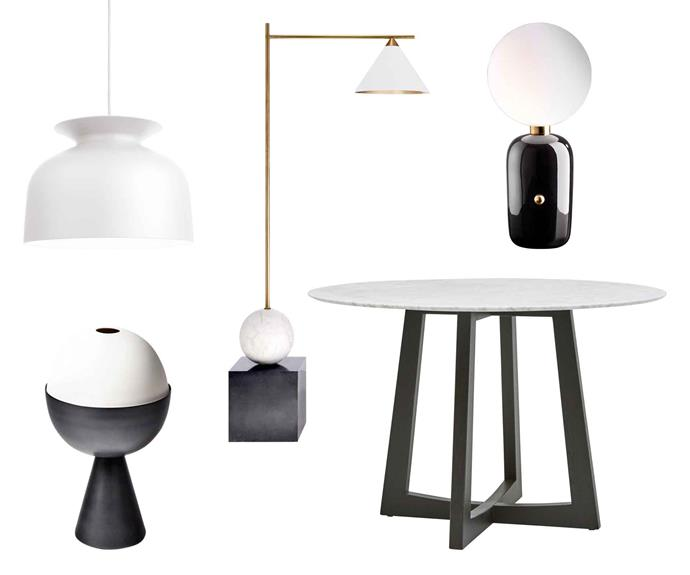 "**Next round** Contemporary black and white pieces in shapely geometric forms are easy to find and simple to style. **Get the look** (clockwise from left) Gubi 'Ronde' pendant, $690, [Cult](https://cultdesign.com.au/|target=""_blank""