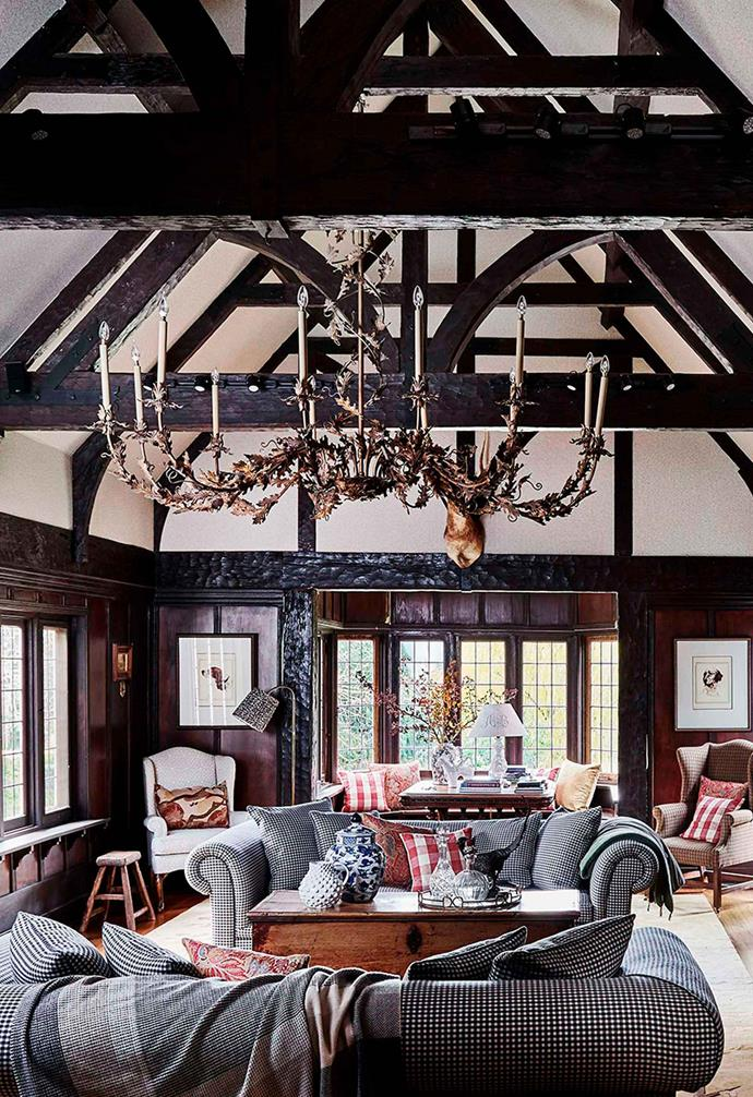"This [Tudor-style homestead in the Yarra Valley](https://www.homestolove.com.au/tudor-style-homestead-australia-20109|target=""_blank"") features dark timber throughout the home with the crowning glory being the cathedral ceiling in the grand formal lounge room. The dark timber is paired with a white ceiling for contrast and ample natural light."