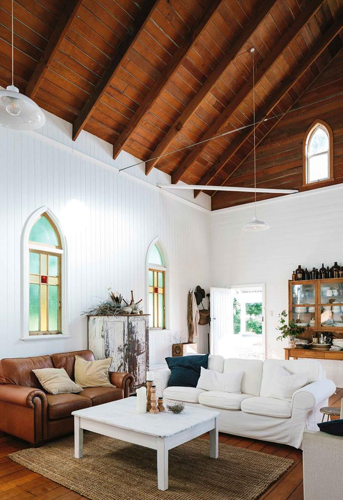 "A [converted church in Queensland](https://www.homestolove.com.au/restored-qld-church-full-of-divine-treasures-13984|target=""_blank"") has been given a light-filled update that's perfect for a family. The timber ceiling features exposed ceiling beams run along the length of the pitched roof and highlight the lancet windows that are a remnant from the church's past life."