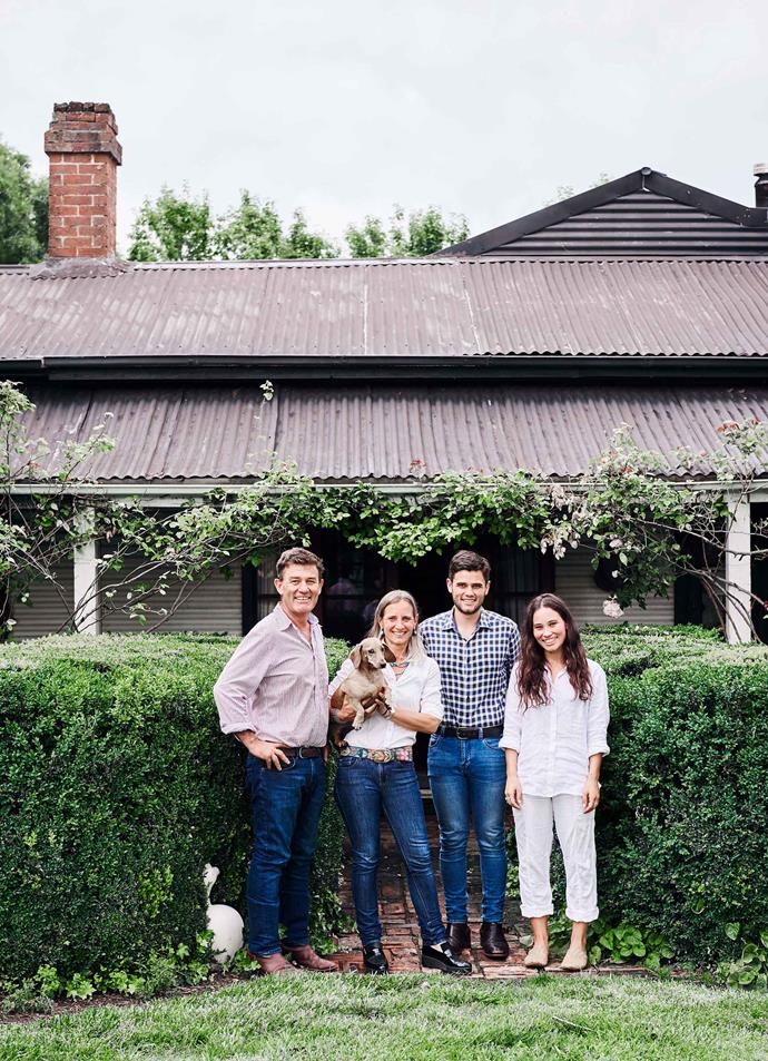 "Derek and Sus with the family dachshund, Beans, their son Jock and their daughter D'Arcy in front of their cottage home known as Old Bogalara. [D'Arcy is an artist](https://www.instagram.com/darcyb.charcoal/|target=""_blank""