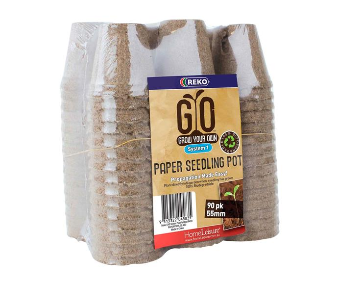 "REKO GYO 55mm Paper Grow Your Own Seedling Pot - 90 pack, $18.18, [Bunnings](https://www.bunnings.com.au/|target=""_blank""