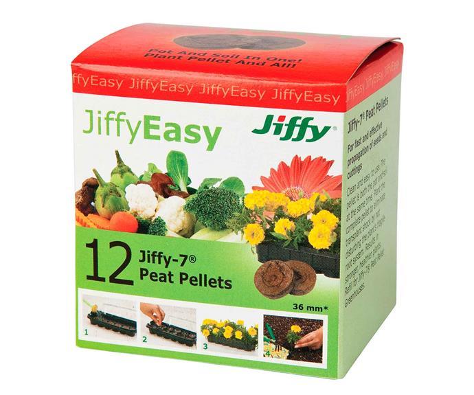 "Jiffy 36mm Peat Pellet - 12 pack, $4.90, [Bunnings](https://www.bunnings.com.au/|target=""_blank""|rel=""nofollow"")."