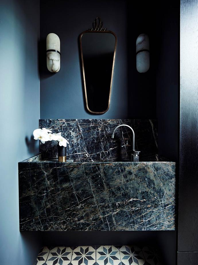 This jewel-like powder room designed by Decus Interiors features a custom vanity and Borsani mirror from Nicholas & Alistair. From *Belle* April 2018.