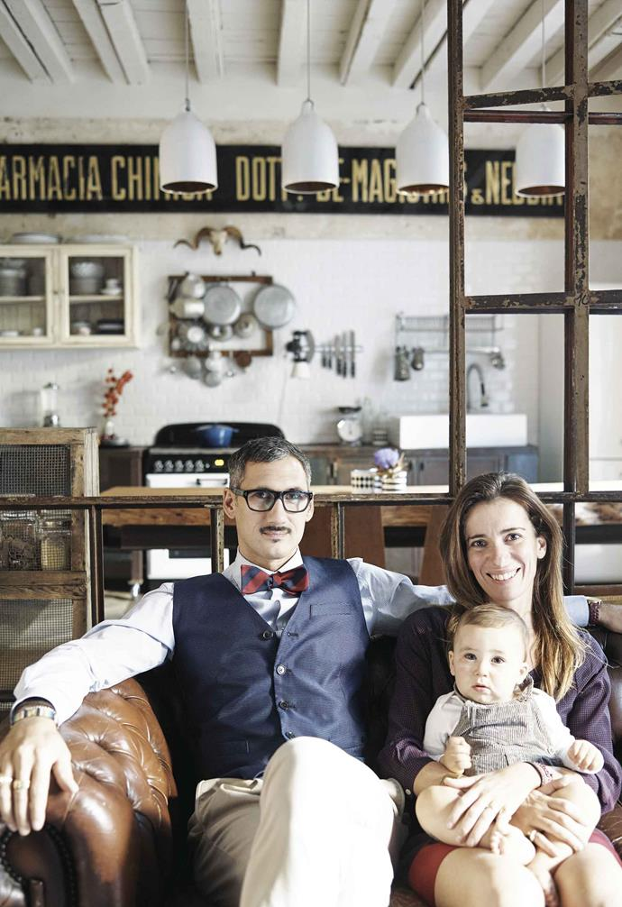 "**Family portrait** Giovanni and Anna, pictured with son Tito, both wear two hats in a work sense. ""I'm a graphic designer who mixes illustration with interior design to create even more interesting projects,"" says Anna, who now works from home."