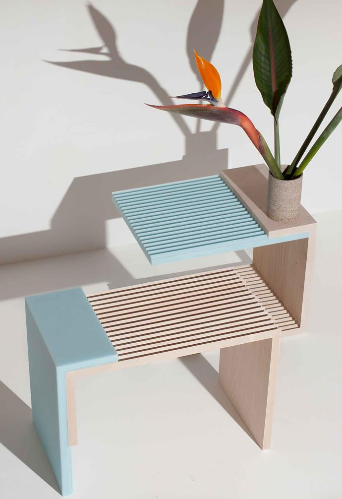 James's J4 side tables play on the contrasts of timber and acrylic, and light and shadow.
