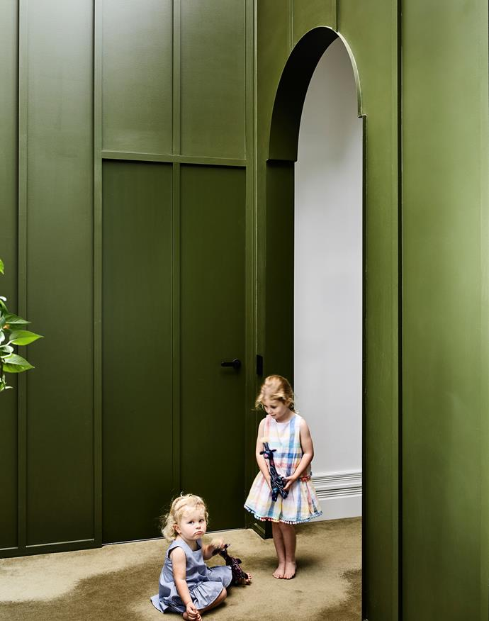 There's play space galore for Isobel (left), Amelia and their sisters in this delightfully revamped home. A strapped dado wall, painted Bristol Shadowy Evergreen, defines the  new extension. SuperTuft Escape Velour carpet in Chase helps reduce noise.