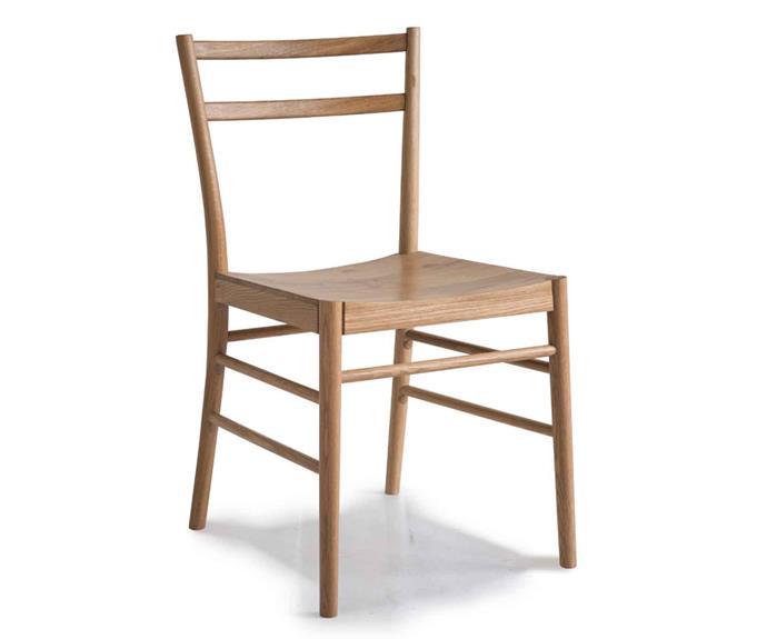 "Pinch 'Avery' dining chair, $1230, [Spence & Lyda](https://www.spenceandlyda.com.au/|target=""_blank""|rel=""nofollow"")."