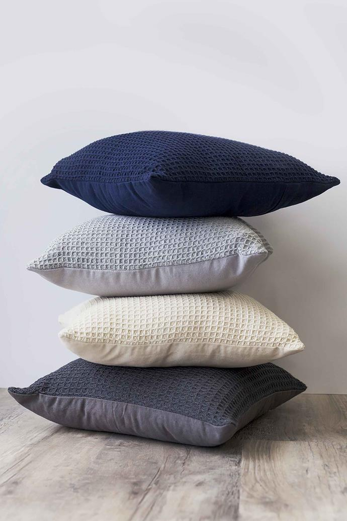 """Smart Home Products 45 x 45cm Seville [waffle cushion](https://www.bunnings.com.au/smart-home-products-45-x-45cm-seville-waffle-cushion_p0106610