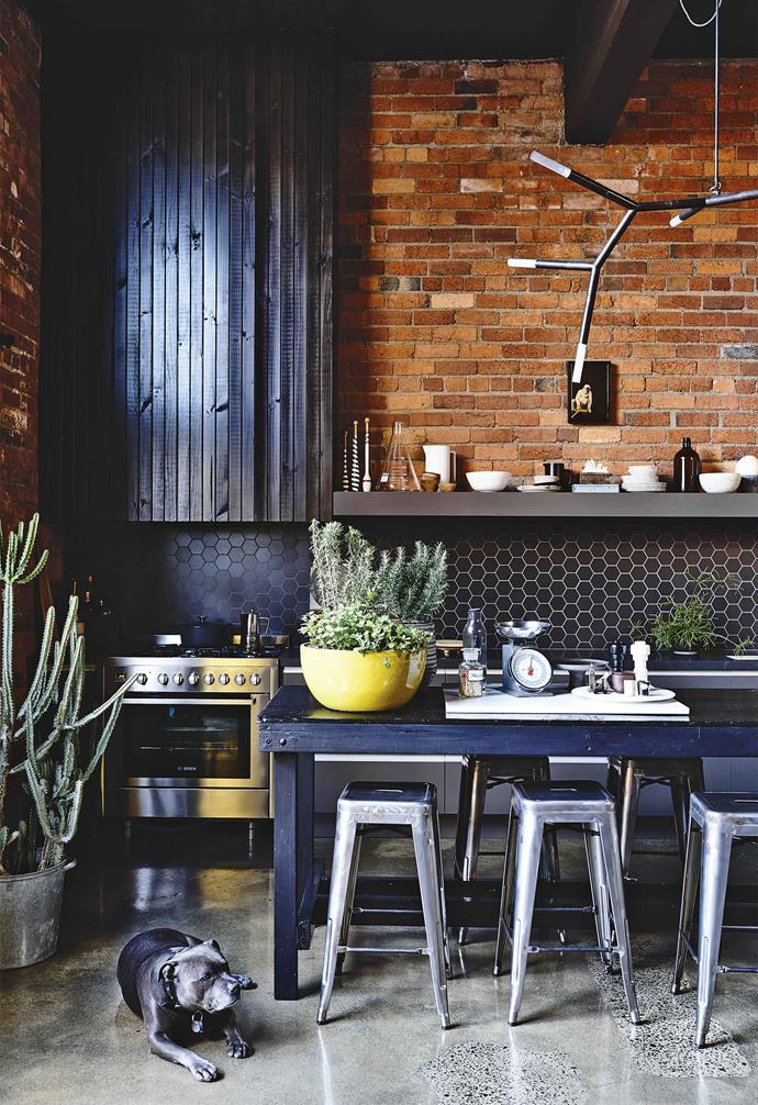 """Because Brett had spent about $150,000 on the renovation, we tried to stick within a budget and shop around for good prices when it came to the interiors,"" says Stuart, who has been collecting homewares and knick-knacks for more than 30 years.<br><br>**Kitchen** Modern touches include gunmetal cabinets from [Freedom Kitchens](https://freedomkitchens.com.au/