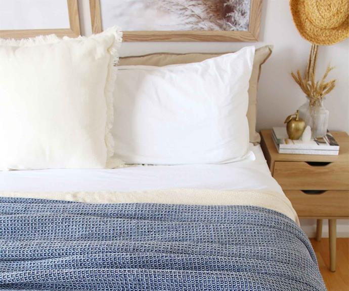 Bunnings throw rug on a coastal style bed
