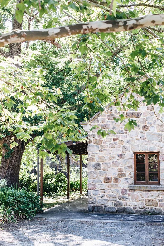 A carefully restored stone cottage, The Waterfalls, sits on a ridge on the property.