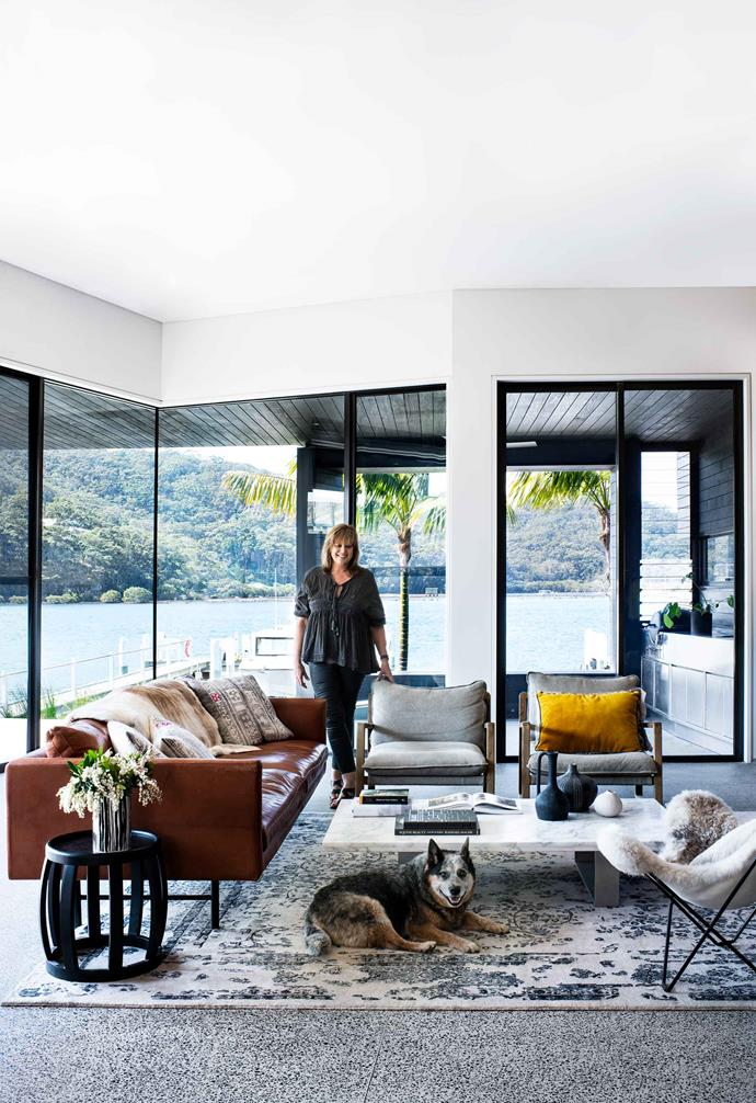 "**Living area** Homeowner Susan with Sarge (on an Everest rug from [Hali Rugs](https://www.hali.com.au/|target=""_blank""