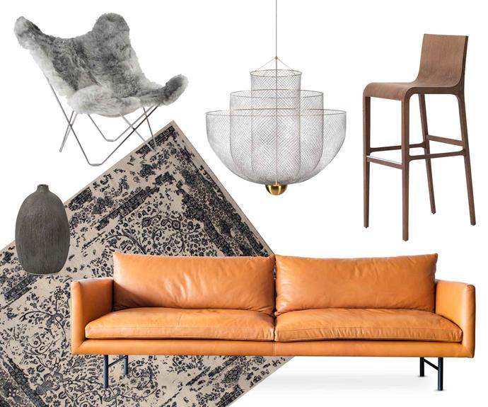 "**Vacay vibe** Create that holiday-at-home feeling with pieces that embody comfort and style. **Get the look** (clockwise from left) Lars Kjerstadius 'Icelandic Pampa Mariposa' armchair in Grey Mix, $4210, [Curious Grace](https://curiousgrace.com.au/|target=""_blank""